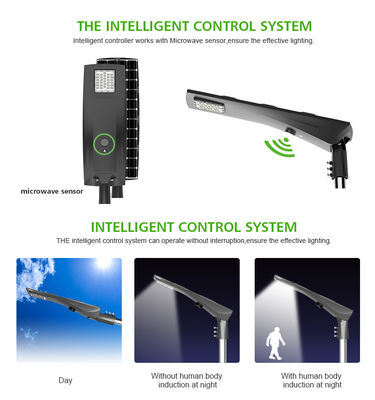 Dusk To Dawn Solar Powered Street Lights Mono Crystalline Silicon Panel Phosphate Lithium Battery